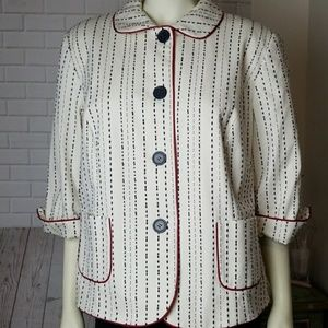 Talbots 18w Petite Striped Blue Red White Blazer